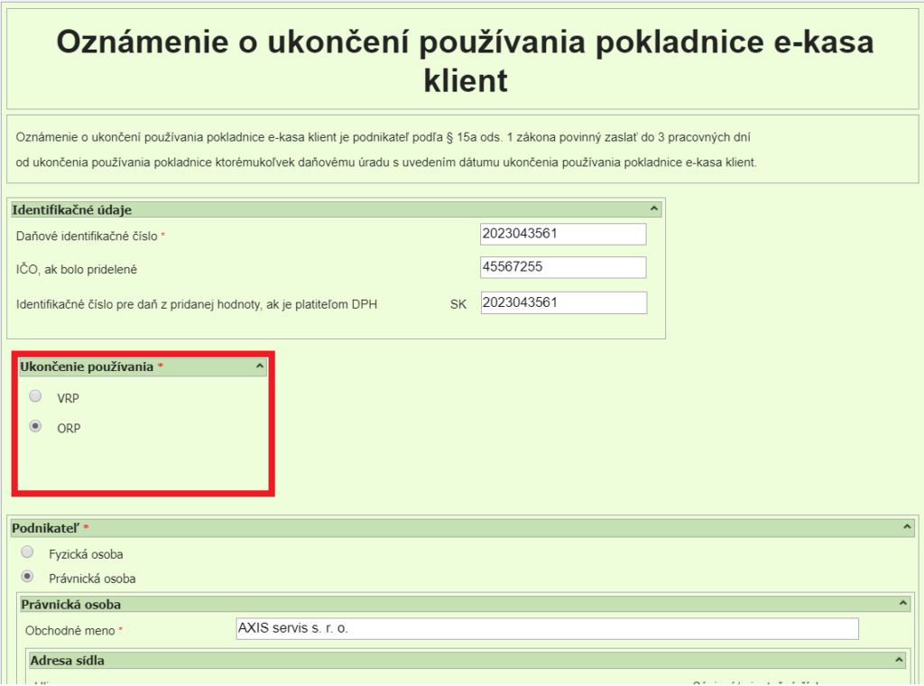 formular ORP